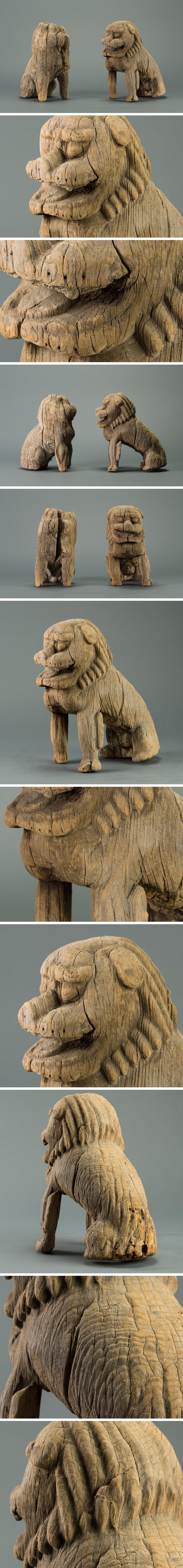 木雕正面狮子头像图